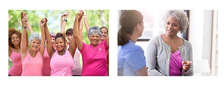 patient care image of women in pink shirts celebrating, and on the right a woman in a pink shirt talking to another person